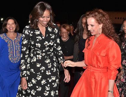 Michelle Obama accueillie par la princesse Lalla Salma à Marrakech