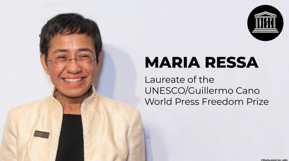 La journaliste Maria Ressa reçoit le prix Unesco de la liberté de la presse